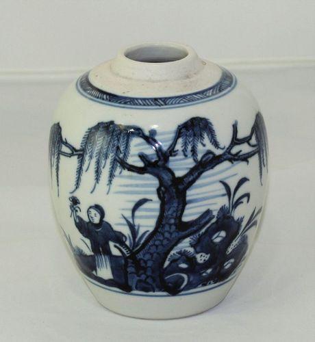 Chinese Porcelain Blue & White Tea Jar