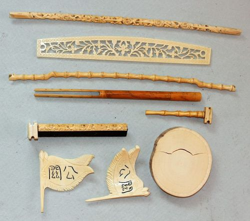 Several pieces of carved Ming to Qing old Artistic pieces