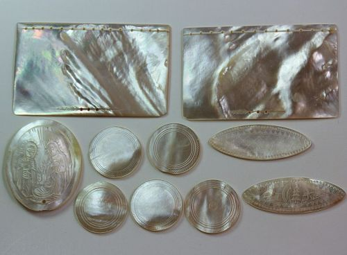 Japanese carved Mother of Pearl pieces