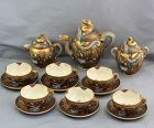 "Japanese Satsuma ""Hotoda"" signed Earthenware 15 pieces Tea Set, Dragon"