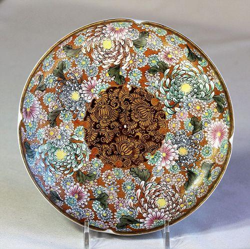 Japanese Kutani Taniguchi Earthenware Dish, Meiji period