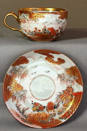 Japanese Kutani Porcelain Cup and Saucer, signed