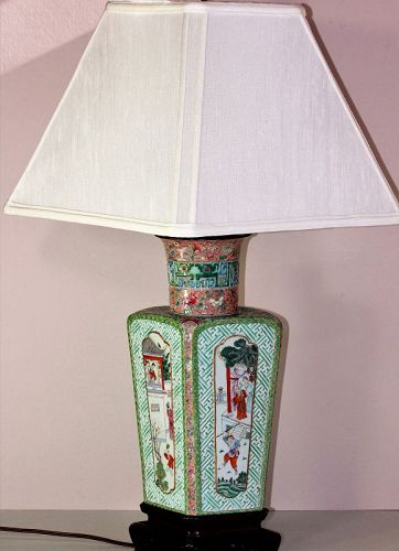 Chinese Famille Rose Qianlong Porcelain Vase Lamp