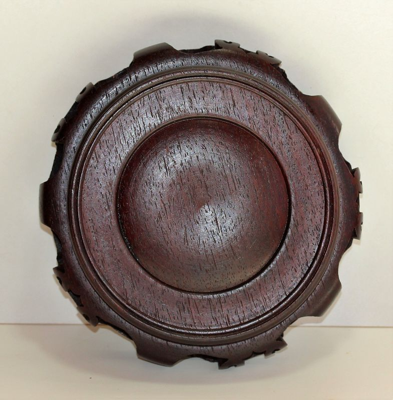 Chinese carved Hardwood Display Stand, Hong Kong made label