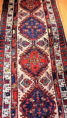 Persian  hand knot 100% Wool Runner, old Caucasian