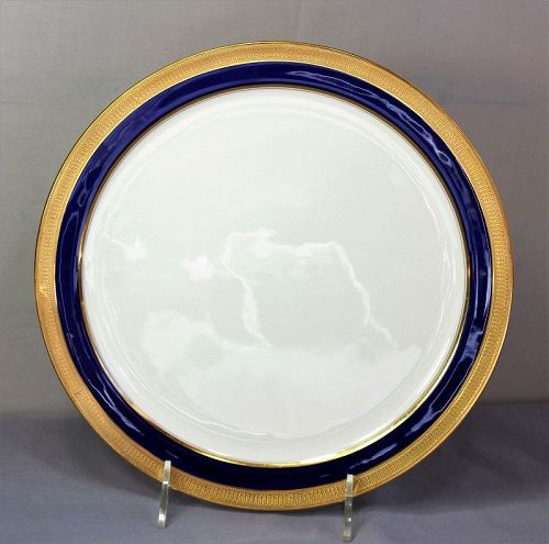 Lenox Porcelain Charger, cobalt blue & gold, green mark