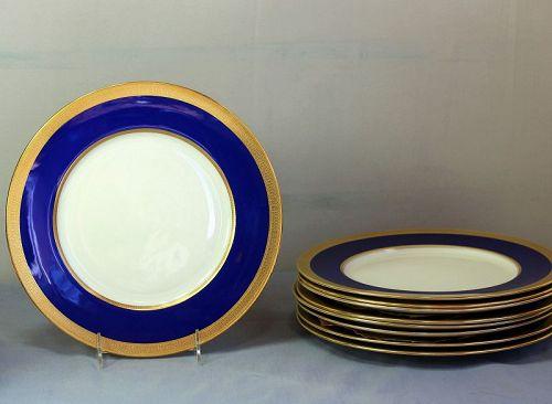 Nine(9) Lenox Porcelain Dinner Plates, green mark