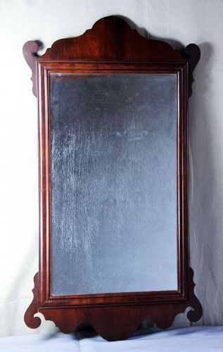 English Queen Anne Mahogany Mirror, Looking Glass