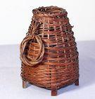 Japanese Ikebana Flower Basket, woven Bamboo