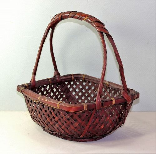 Japanese Ikebana woven Bamboo Flower Basket