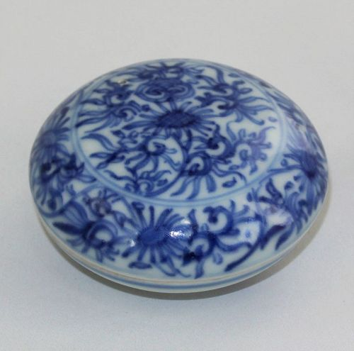 """Chinese """"Hatcher"""" Shipwreck Blue & White Porcelain covered Ink Box"""