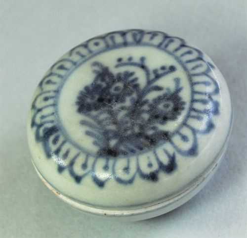 Chinese Blue & White Porcelain covered Paste Ink Box