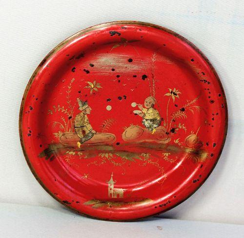 Tole ware Red small Dish, Gold Chinoiserie design