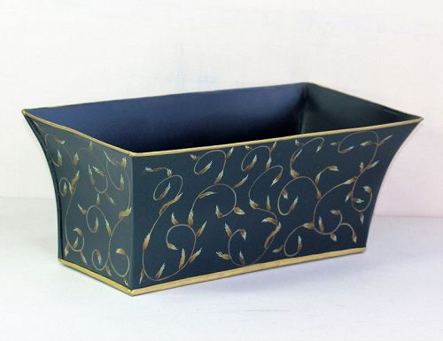 Tole Cachepot, planter, blue with Feather design