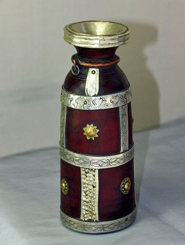 Nepalese Jug  for Ghee Butter Jug, etched Silver mounting