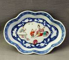 Chinese Export Porcelain Famille Rose & Blue Spoon Rest, Spoon Tray