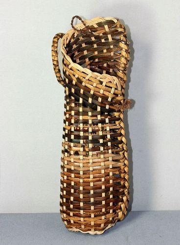 Japanese Bamboo woven Ikebana flower wall hanging Basket