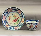 Chinese Export Famille Rose & Blue Porcelain Tea Bowl & Saucer