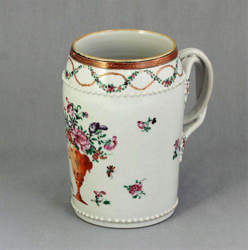 Chinese Export Porcelain Famille Rose Mug, Tankard