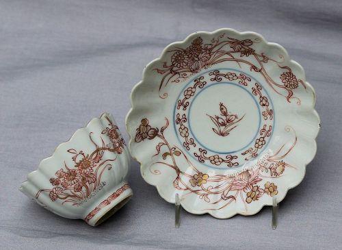 Chinese Export Porcelain Scallop Rim Tea Bowl & Saucer, 18th C.