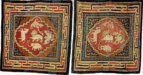 Tibetan Pair Wool Prayer Rug, Seat Cover, Animal design