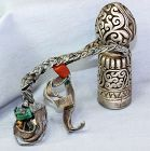 Tibetan Silver Seal, Yak Leather Rope & Turquoise, Shell Beads