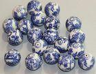 20 Chinese Porcelain Blue & White large Beads