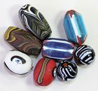 Eight(8) Glass Beads, various colors, Venetian style