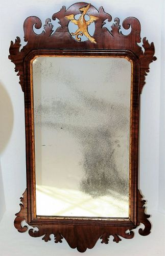 English Chippindale Mahogany & Gold Phoenix Mirror/Looking Glass