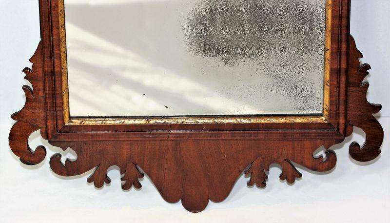 English Chippindale Mahogany & Gold Phoenix Mirror/Looking Glass