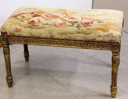 Aubusson Music Bench, wooden frame