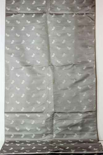 Japanese Gray Silk Brocaded Obi