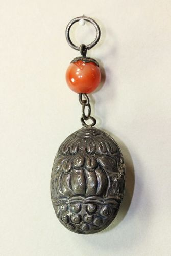 Chinese Silver Lotus Pod Bell Pendant, Agate bead
