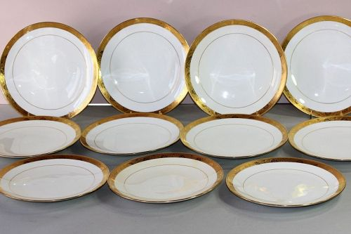 11 English Mintons Porcelain Gold Rim Luncheon Plate, Tiffany & Co