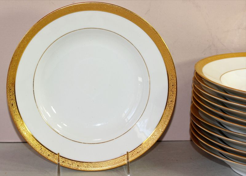 12 Haviland Limoges Gold Rim Soup Plates