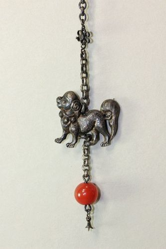 Chinese Silver Foo Dog & Agate Bead with Chain Tassel