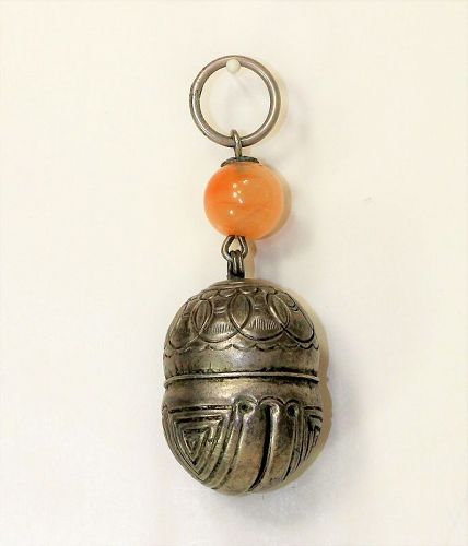 Chinese Silver Bell Pendant with Agate Bead