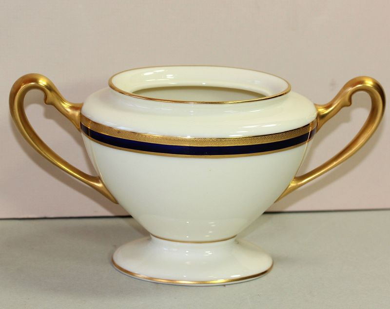 Lenox Porcelain Cobalt Blue & Gold Rim Sugar,743/V.7.B, green mark