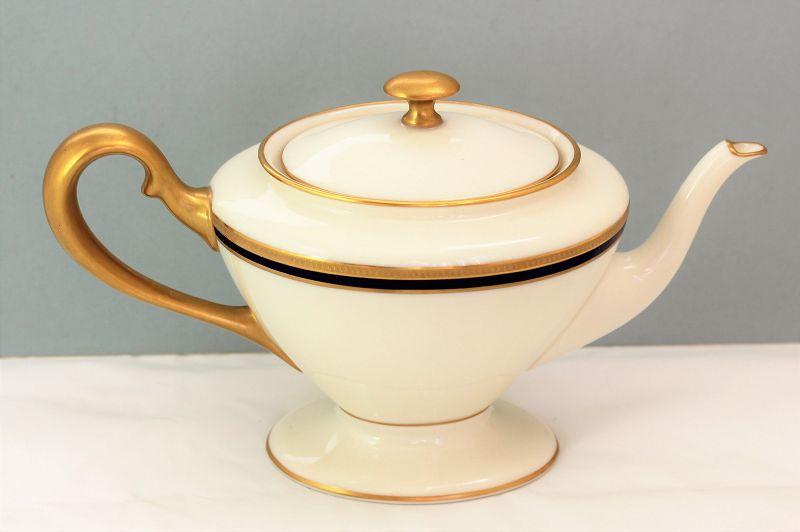 Lenox Porcelain Cobalt Blue & Gold Rim Tea Pot, 742/V.7.B, green mark