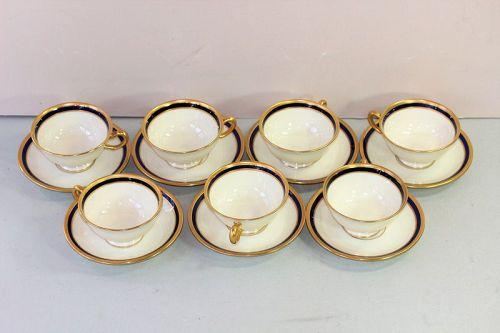 7 Lenox Porcelain Cobalt Blue & Gold Tea Cups, 1620/V.7.B