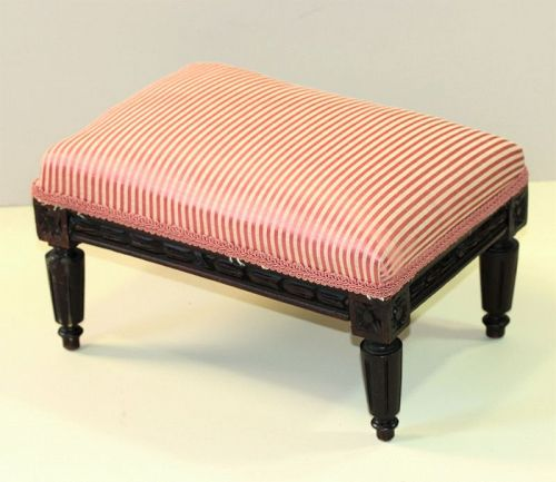 Belgium carved Wooden Foot Stool, upholstered top