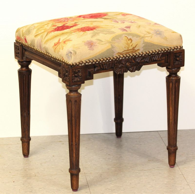 Wondrous Aubusson Wool Wooden Stool Hand Woven Floral Design Gmtry Best Dining Table And Chair Ideas Images Gmtryco