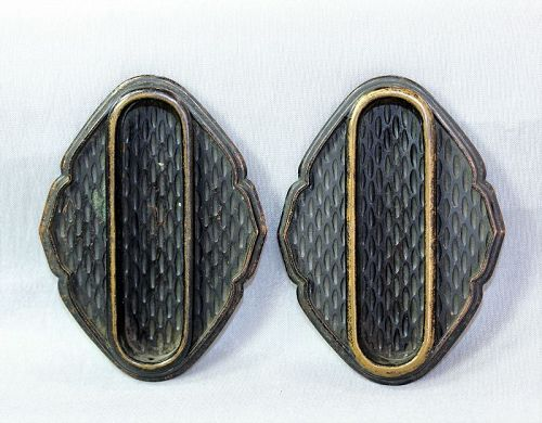 2 Japanese Dark Copper Fusuma sliding door Handles