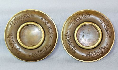 2 Japanese Fusuma Sliding Door Handles, Gilded and Lacquered on Brass