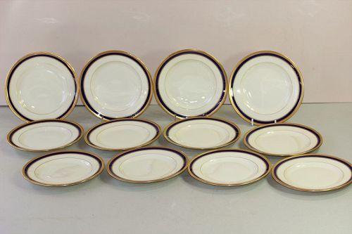 12 Lenox  Porcelain Cobalt Blue & Gold Rim B & B Plates, 5 1/2/V.7.B.