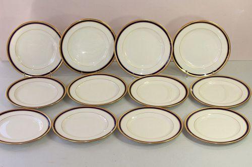 12 Lenox Porcelain Cobalt Blue & Gold Rim Salad Plates, 7/V.7.B.