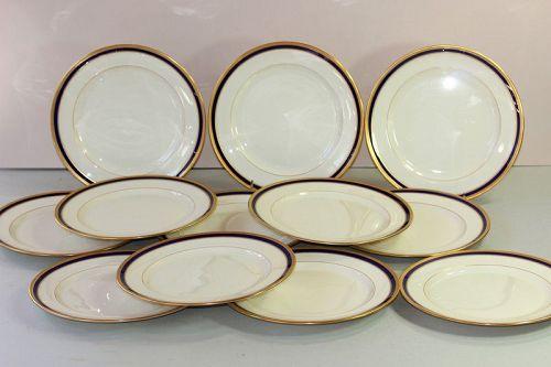 12 Lenox Porcelain Cobalt Blue & Gold Rim Luncheon Plates, 8/V.7.B.