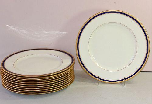 12 Lenox Porcelain Cobalt Blue & Gold Rim Dinner Plates, 1830/V.7.B.