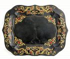 French Tole black Tray, Chippindale style border, 19th C.