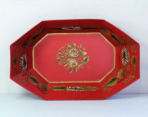 Red Tole Tray, Fruit or Bread